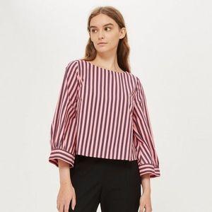 Topshop Pink and Burgandy Wide Sleeve Stripe Top